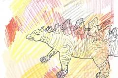 Stegosaurus (Bleistift, Fineliner, Buntstifte auf Papier, 15 x 15 cm)