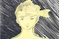 fishboy (Filzstift, Bleistift auf Papier, 15 x 15 cm)