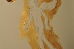 Engel nach Dalí (Bleistift, Acryl auf Papier, 15 x 15 cm)