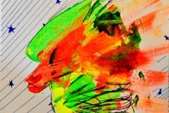 O. T. (Acryl, Filzstifte auf Papier, 15 x 15 cm)