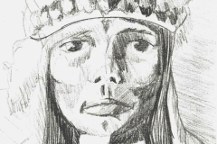 Indianer (Bleistift auf Papier, 13 x 23,5 cm)