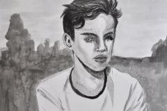 Portrait eines Jungen I (Tusche auf Karton, 30 x 35 cm)