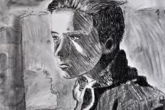 Portrait eines Jungen II (Kohle auf Karton, 30 x 40 cm)