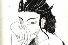 O. T. (Tusche, Goldmarker auf Papier, 21 x 29,7 cm)
